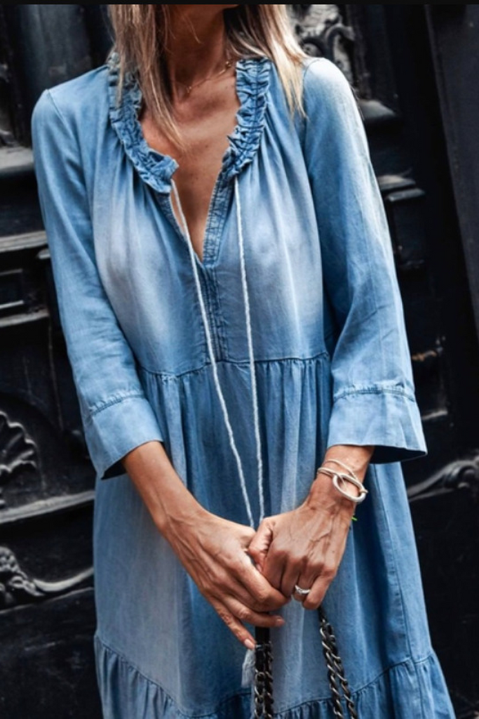 Three Quarter Sleeve Denim Dress