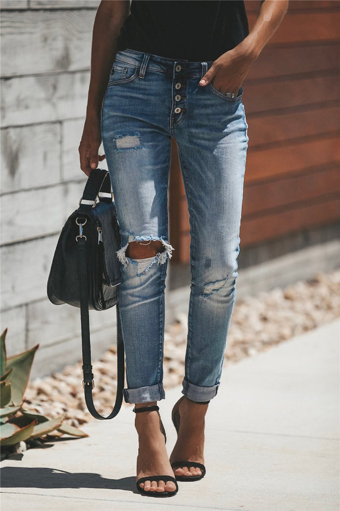 Hole Distressed Button Up Jeans