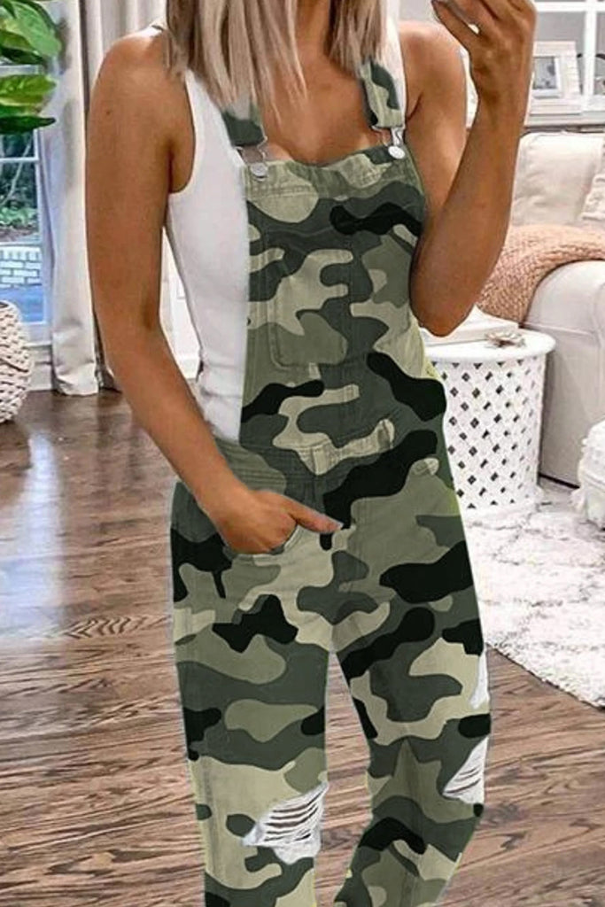Camouflage Distressed Denim Plus Size Jumpsuit