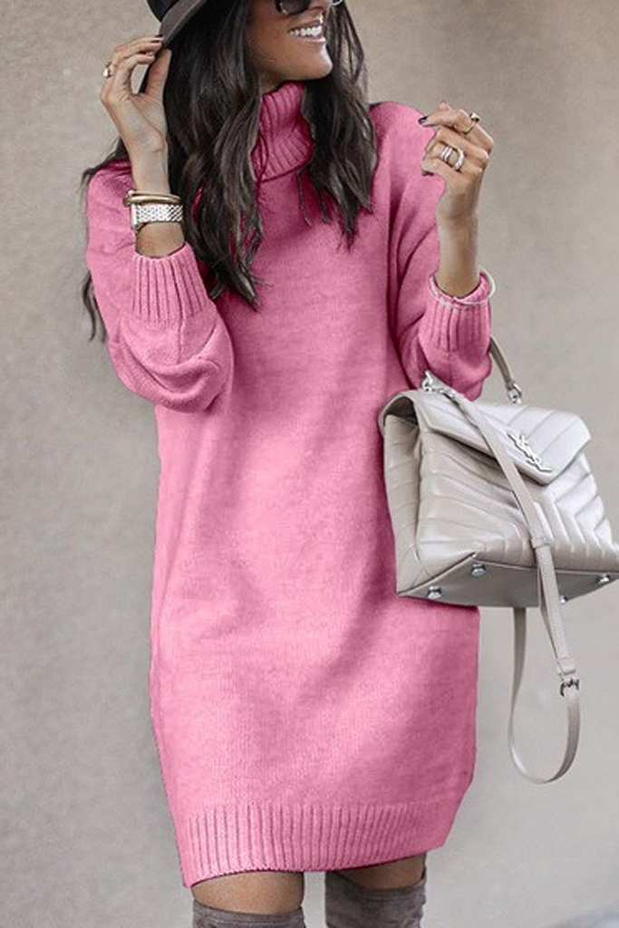 Casual Turtleneck Knit Long Sweater