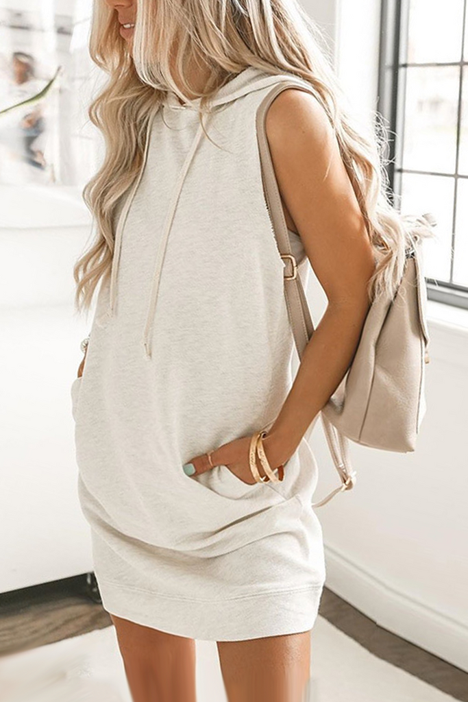 Drawstring Sleeveless Knitted Hoodie Dress