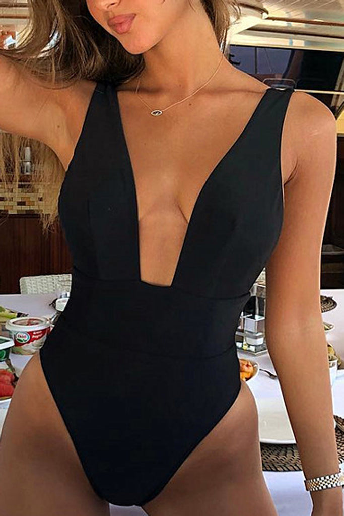 Deep V-Neck Solid One Piece Swimwear
