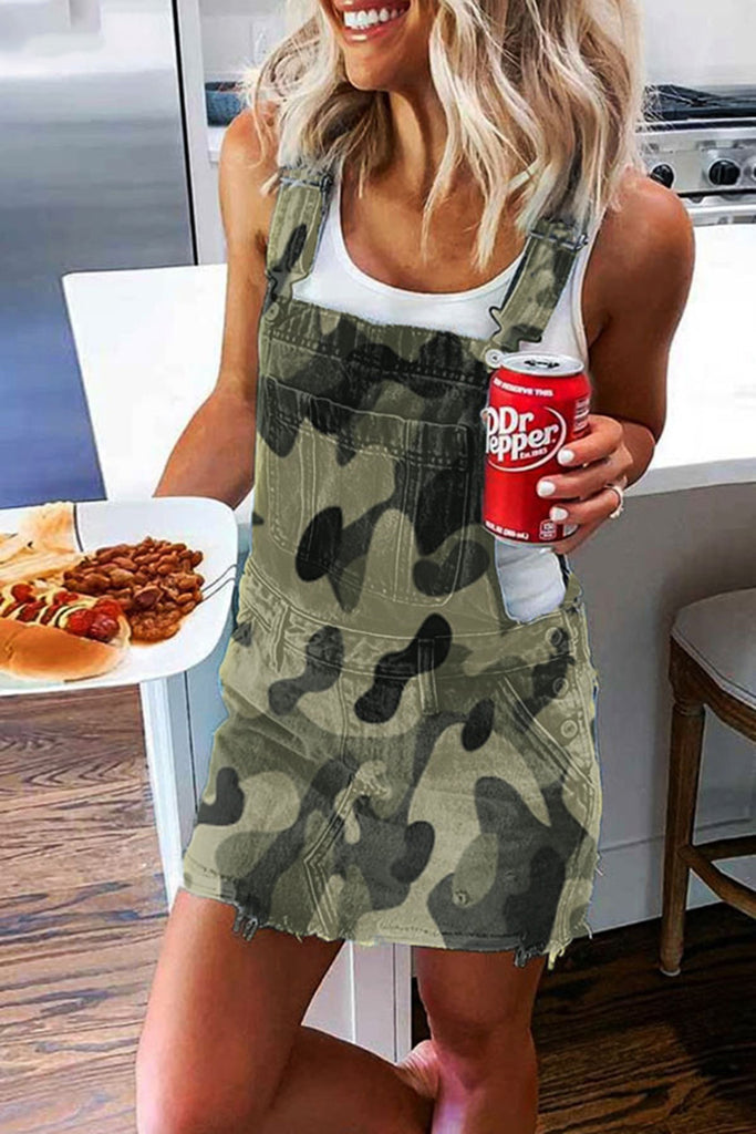 Camouflage Denim Pocket Solid Color Dress