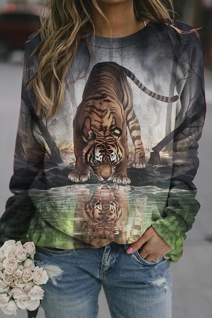 Landscape Animal Print Sweatshirt