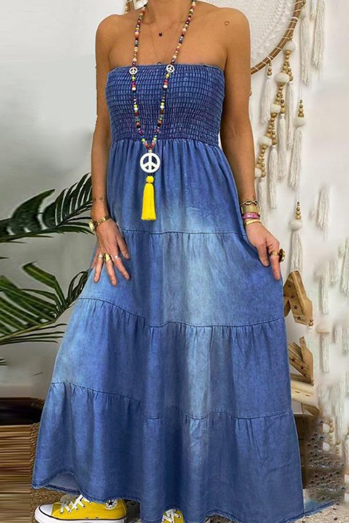 Denim Strapped Open Back Maxi Dress