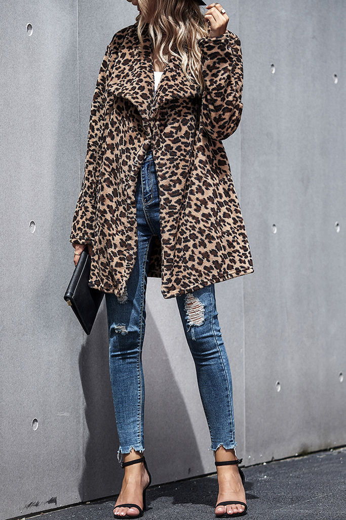 Leopard Wide Lapel Woolen Coat