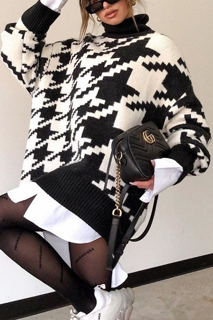 Turtleneck Houndstooth Casual Sweater
