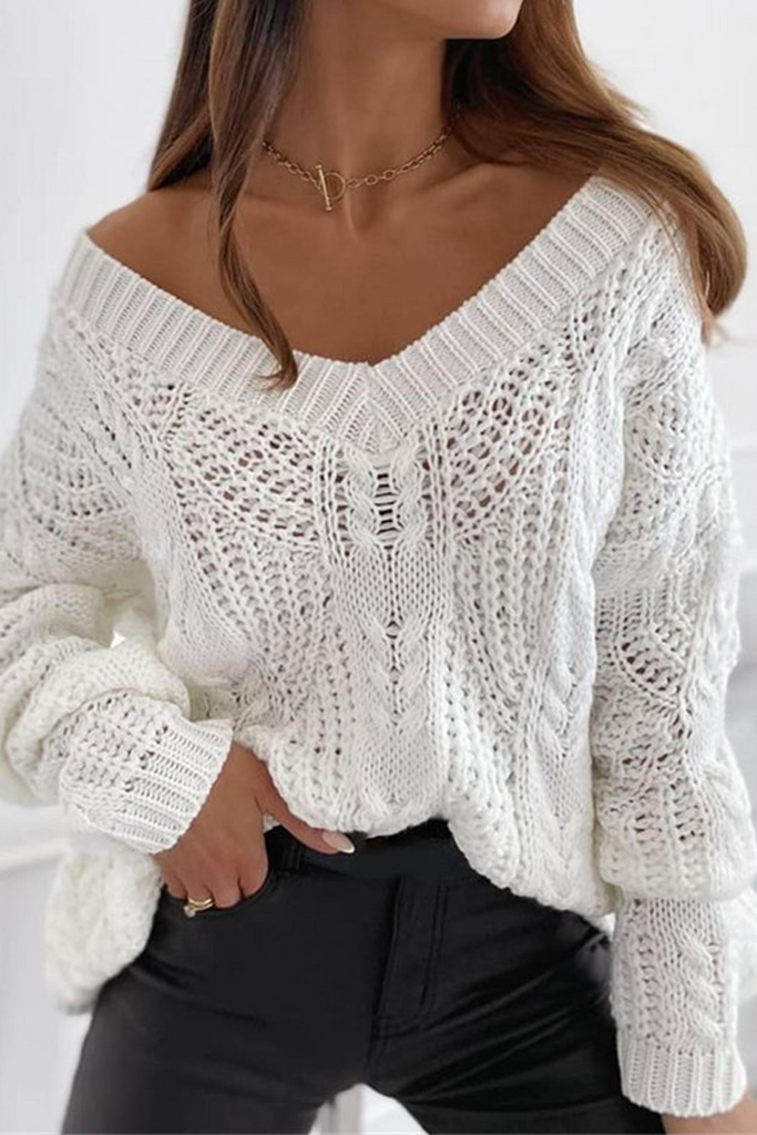 Plain V-Neck Hollow Out Sweater
