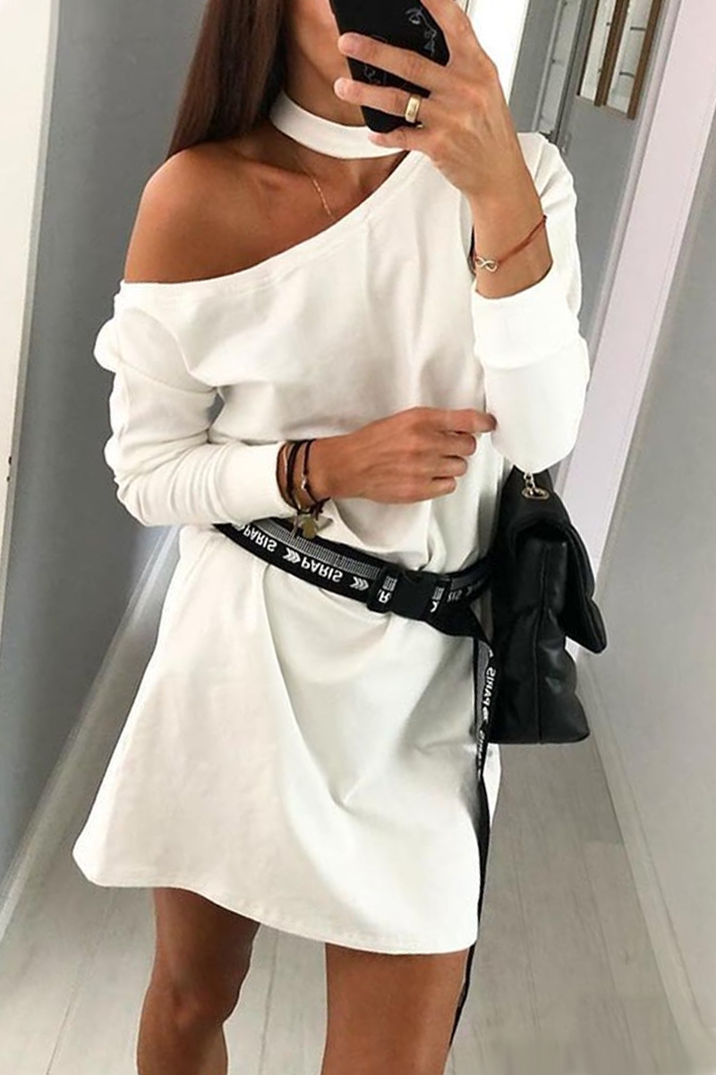 Halter Neck One Shoulder Dress
