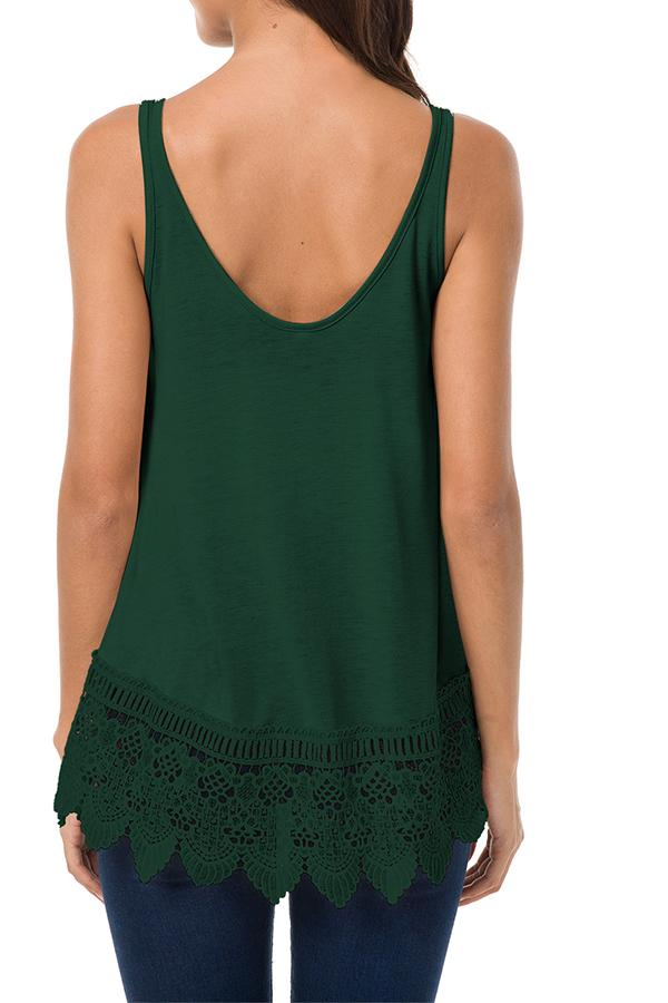 Sleeveless Solid Color Lace Splicing Top