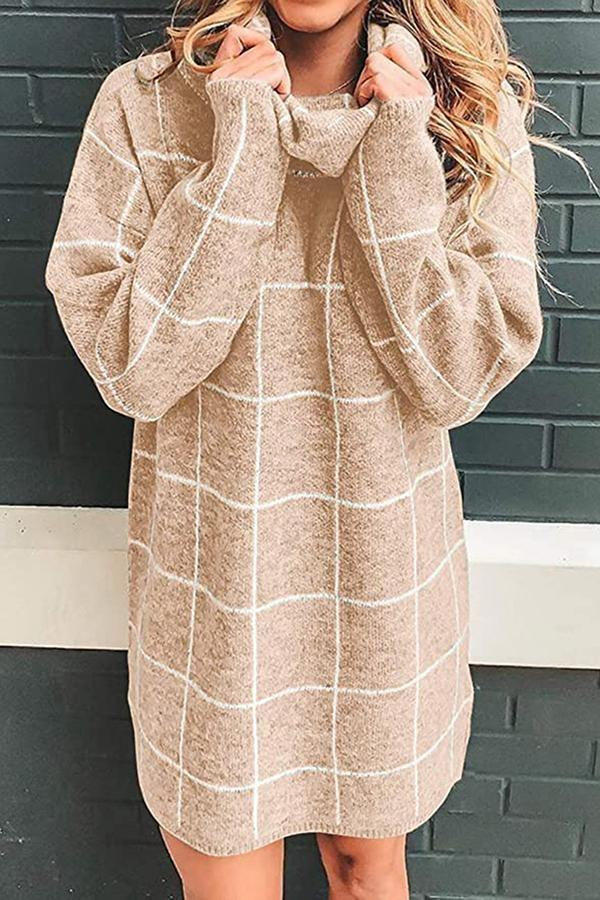 Long Sleeve Plaid Pile Collar Sweater Dress