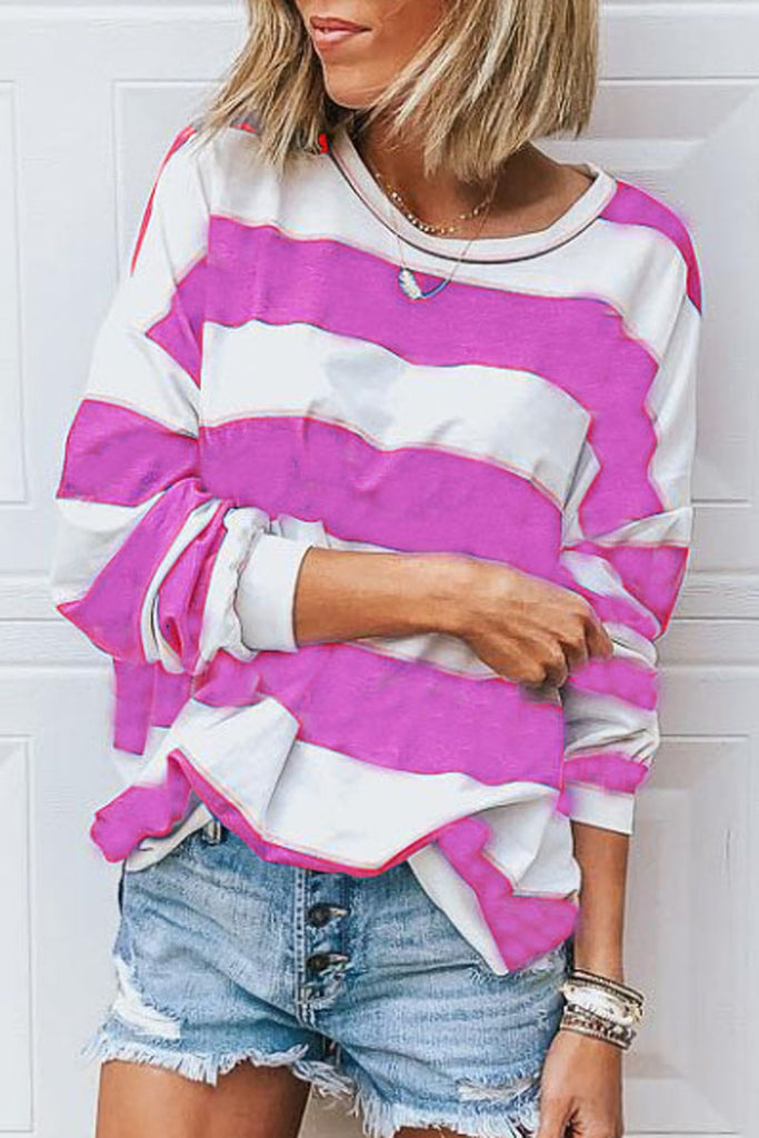 Striped Patchwork Long Sleeve Casual T-Shirt