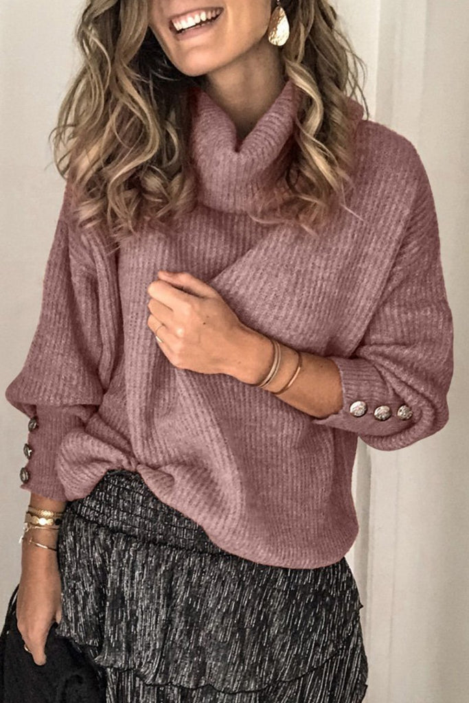 Turtleneck Button Long Sleeve Sweater