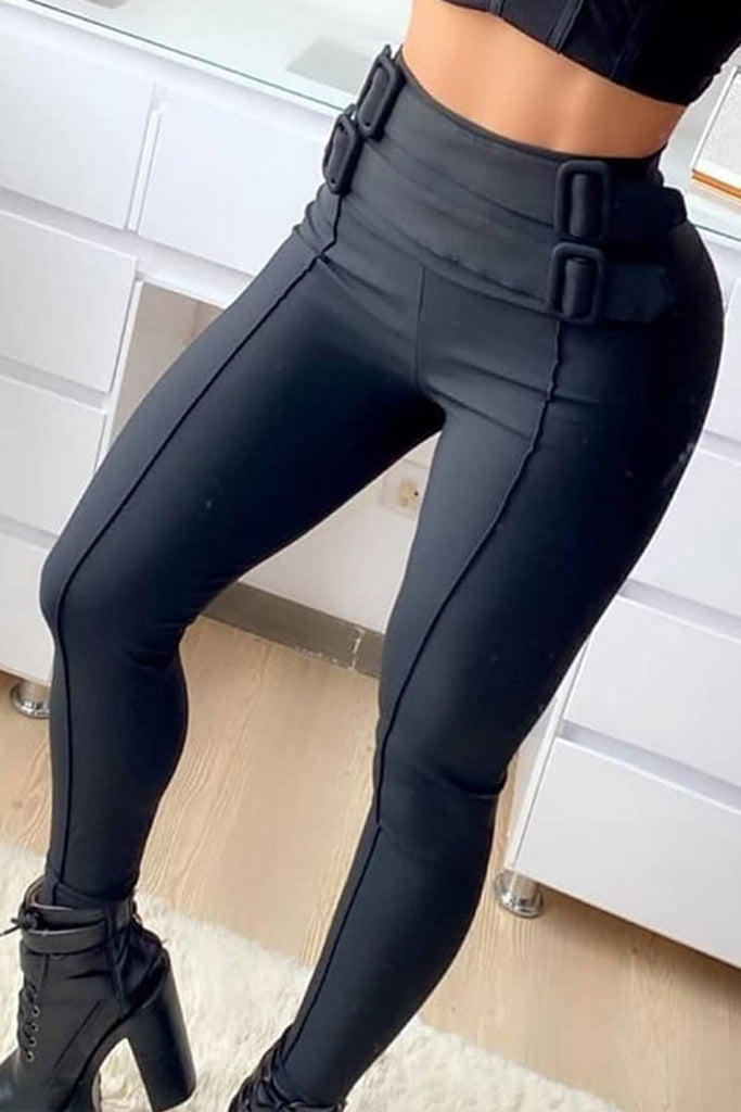 Belt Decorative High Waist Skinny Pants