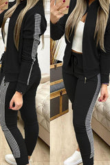 Plaid Patchwork Jacket & Drawstring Pants Set