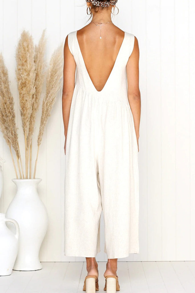 Solid Color Open Back Sleeveless Jumpsuits