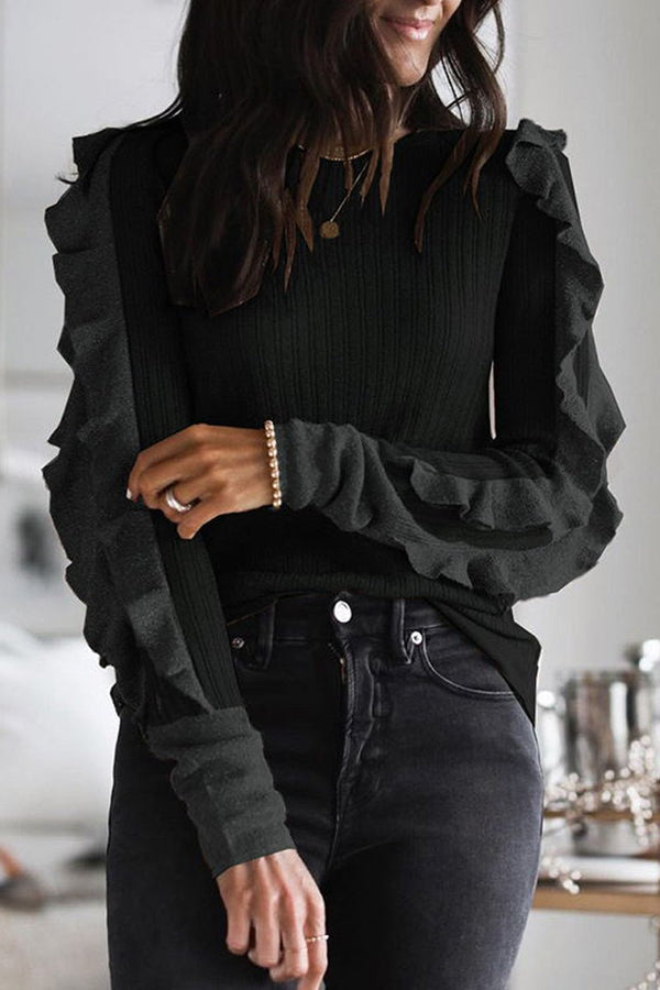 Rib Ruffle Sleeve Knit Sweater