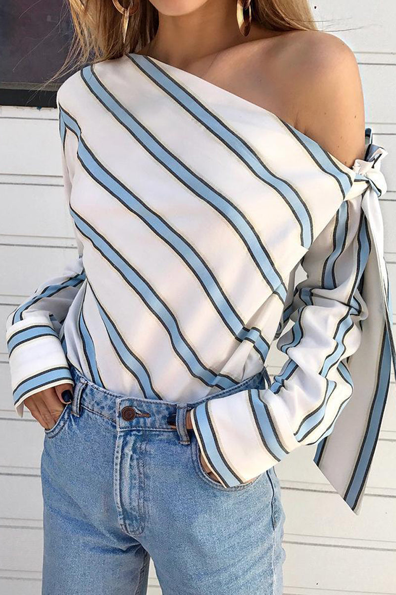 Striped Skew Neck Tie Up Blouse
