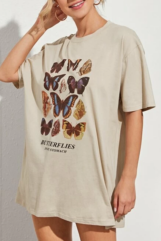 Butterfly Print Round Neck Short Sleeve T-Shirt