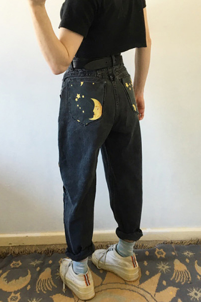 Sun Star Print Denim Pants(Without Belt)