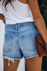Denim Distressed Mid Wash Casual Shorts