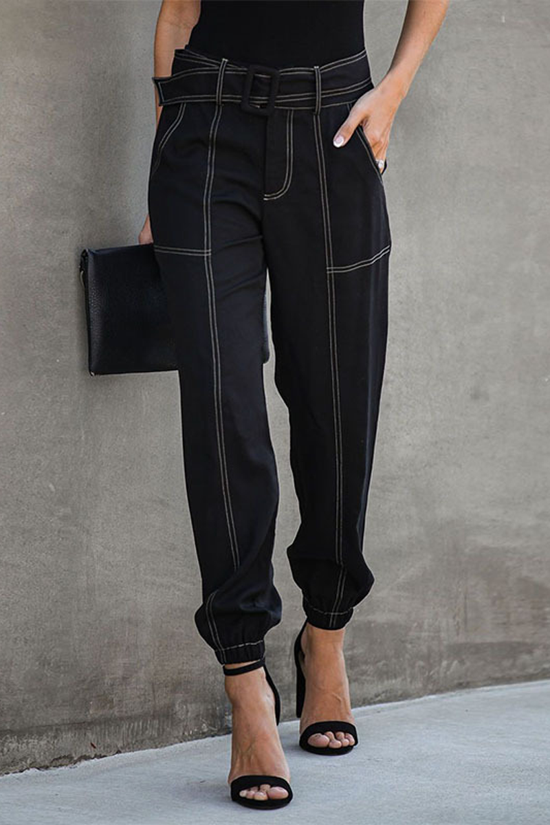 Denim High Waist Belt Trousers