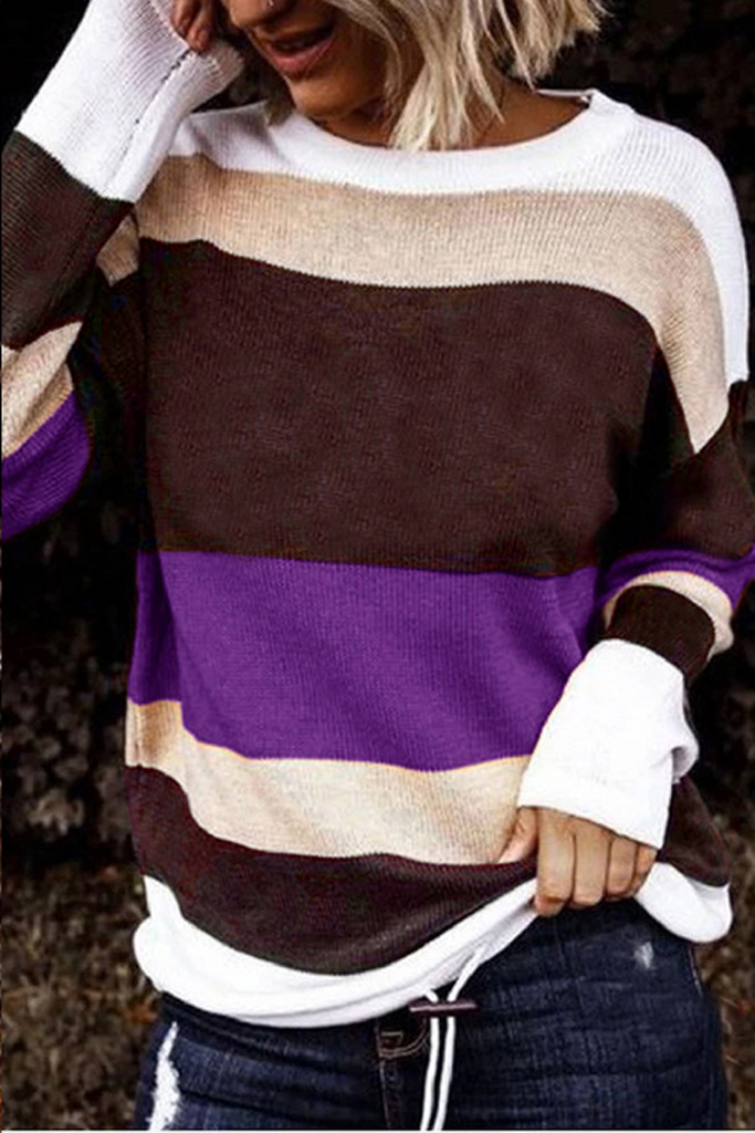 Color Stripe Round Neck Sweater