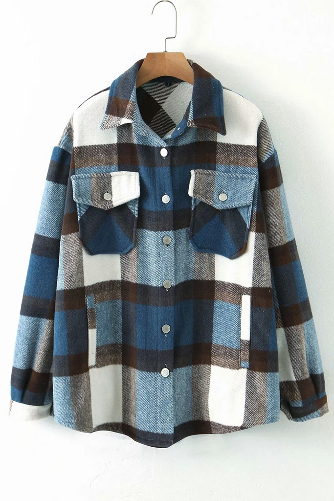 Lapel Neck Buttons Plaid Coat
