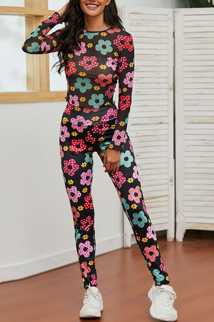 Floral Print Yoga Sport Two Piece Sets