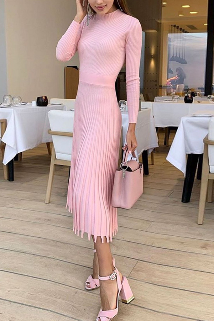 Slim Knit Pleated Midi Dress