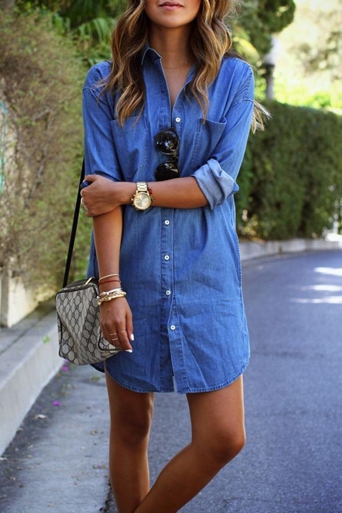 Plus Size Denim Long Sleeve Shirt Dress