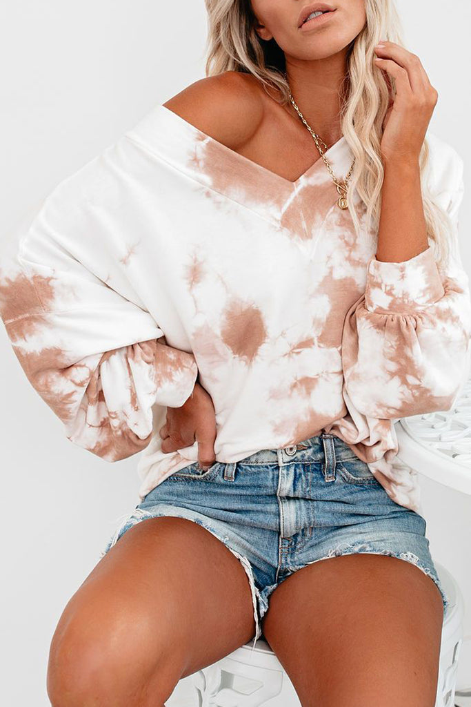Tie Dye Skew Neck Long Sleeve Top