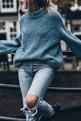 Turtleneck Hollow Out Sweater