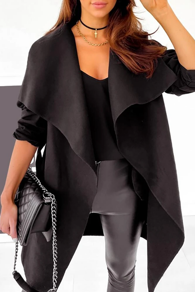 Waterfall Collar Belted Trench Coat