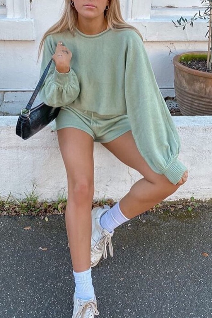 Knitted Lantern Sleeve Top & Shorts