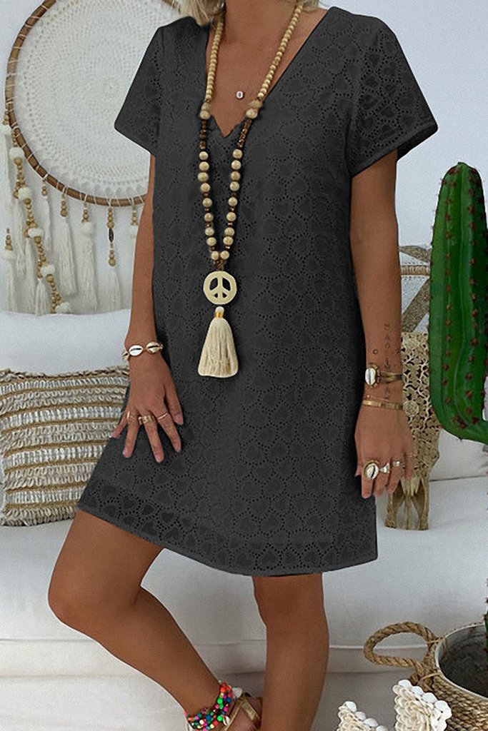 V-Neck Lace Hollow-Out Dress