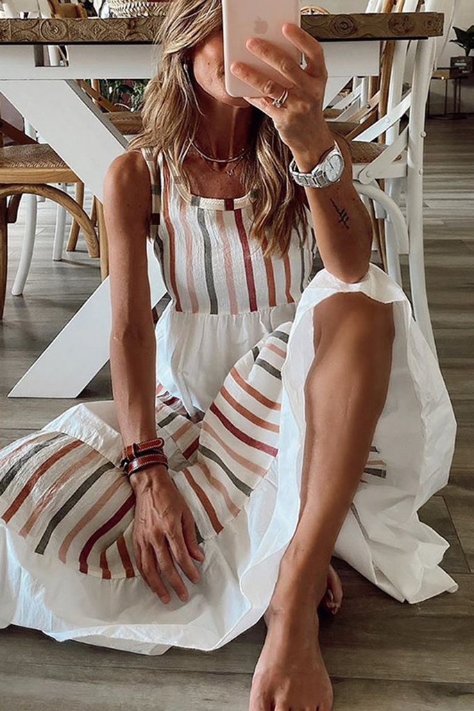 Multicolor Stripe Sleeveless Maxi Dress