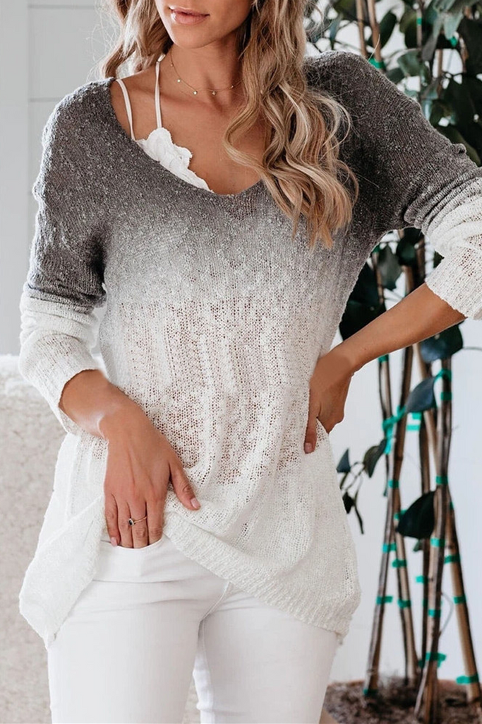 Gradient V-Neck Knitted Sweater