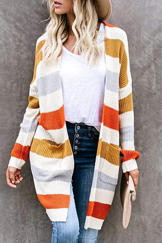 Stripe Splicing Knitted Cardigan