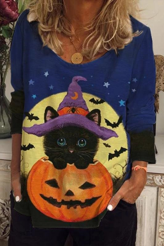 Halloween Pumpkin Cat Print T-Shirt