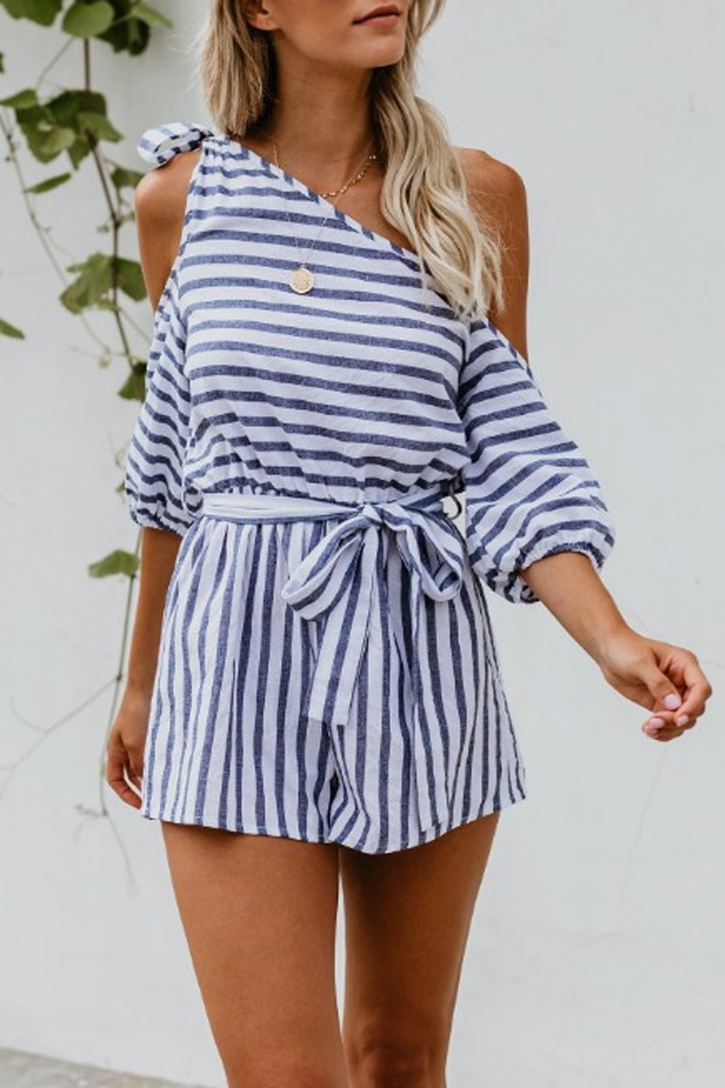 Lace-Up Striped Cold Shoulder Belt Romper