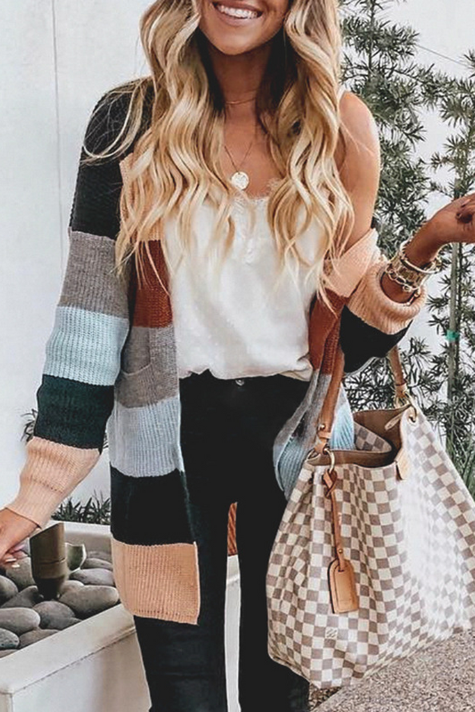 Color Stripe Knitted Cardigan