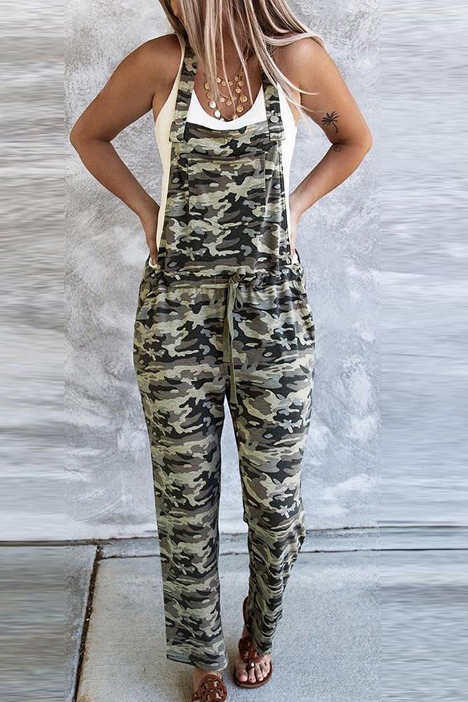 Camouflage Lace-up Straight Jumpsuit