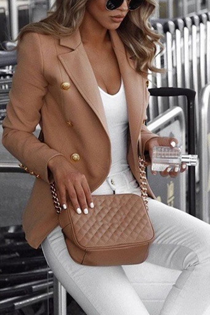 Solid Double Breasted Blazer