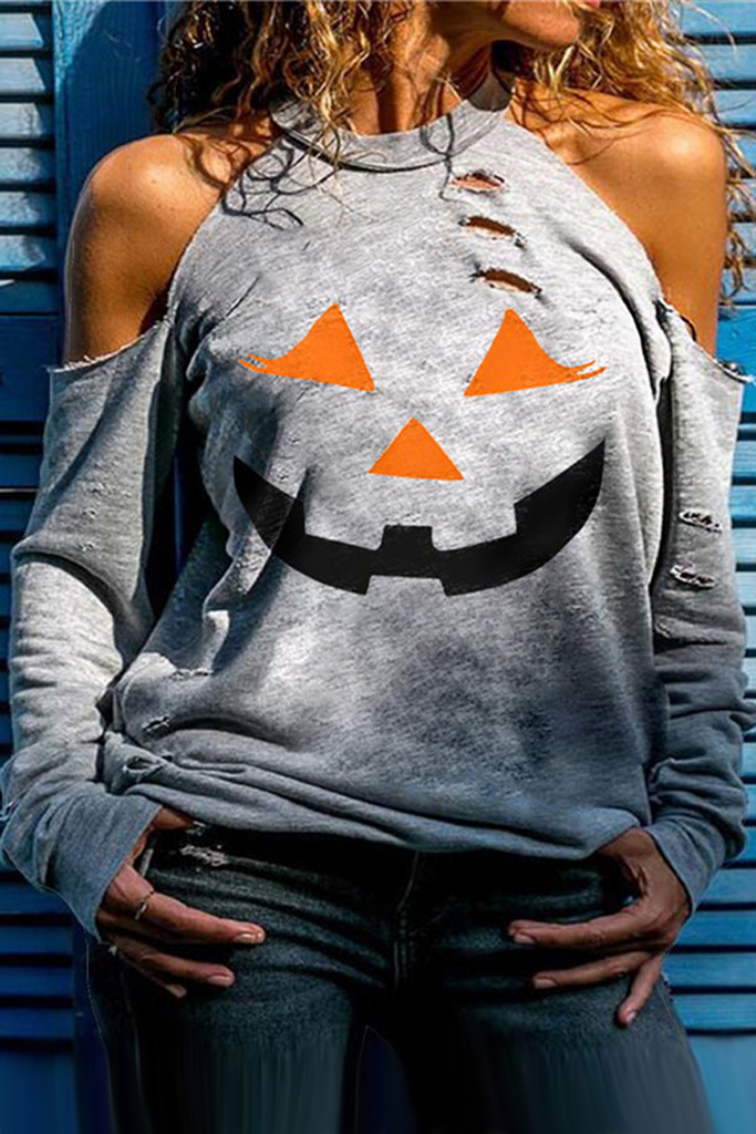Halloween Cold Shoulder Top