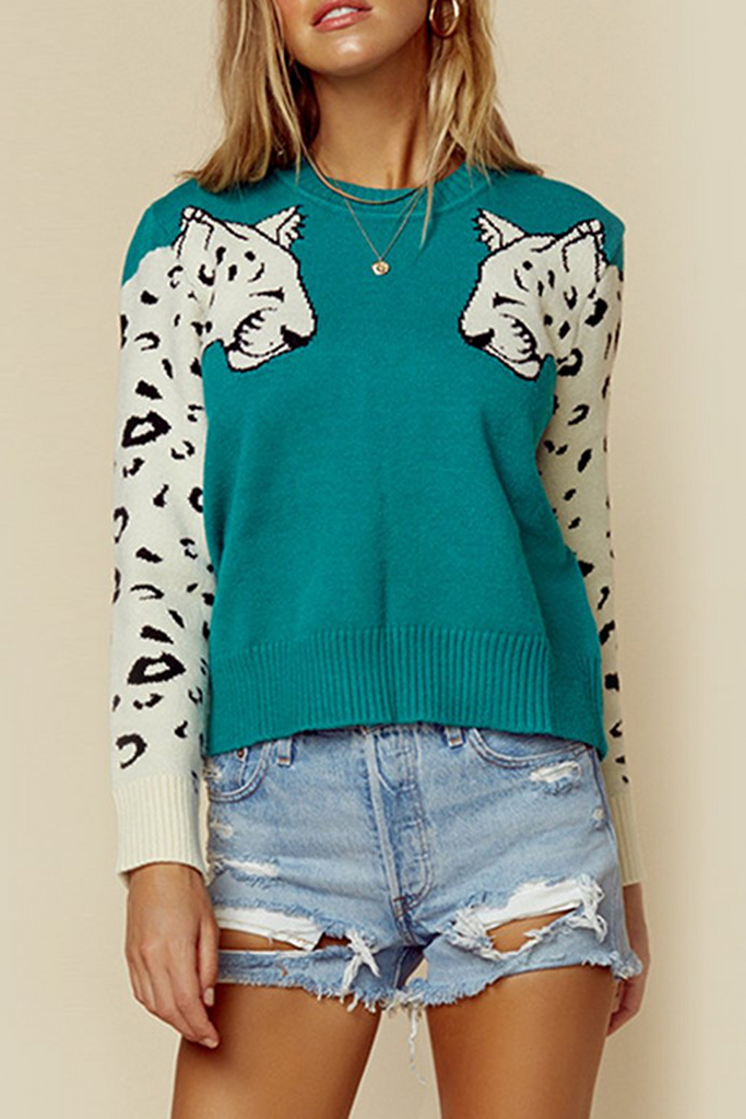 Animal Print Casual Sweater