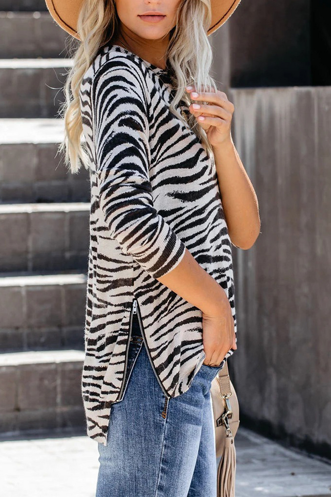 Stripe Leopard Camouflage Print T-Shirt