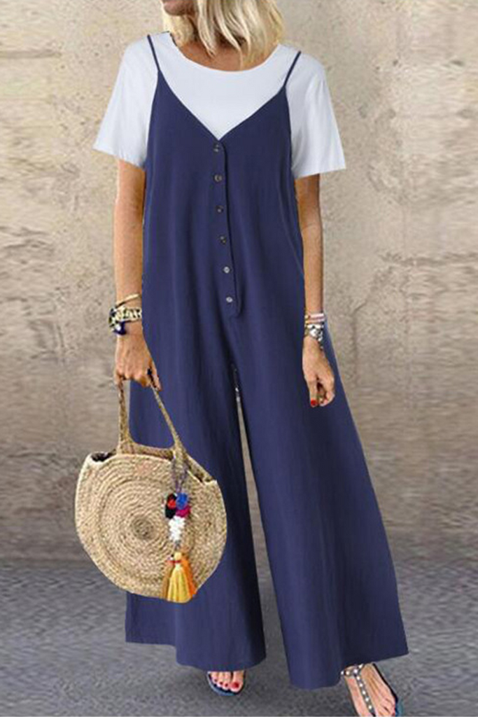Solid Button V-Neck Wide Leg Jumpsuit