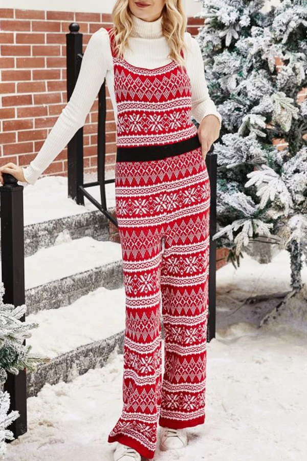 Christmas Wide Leg Knitted Jumpsuit