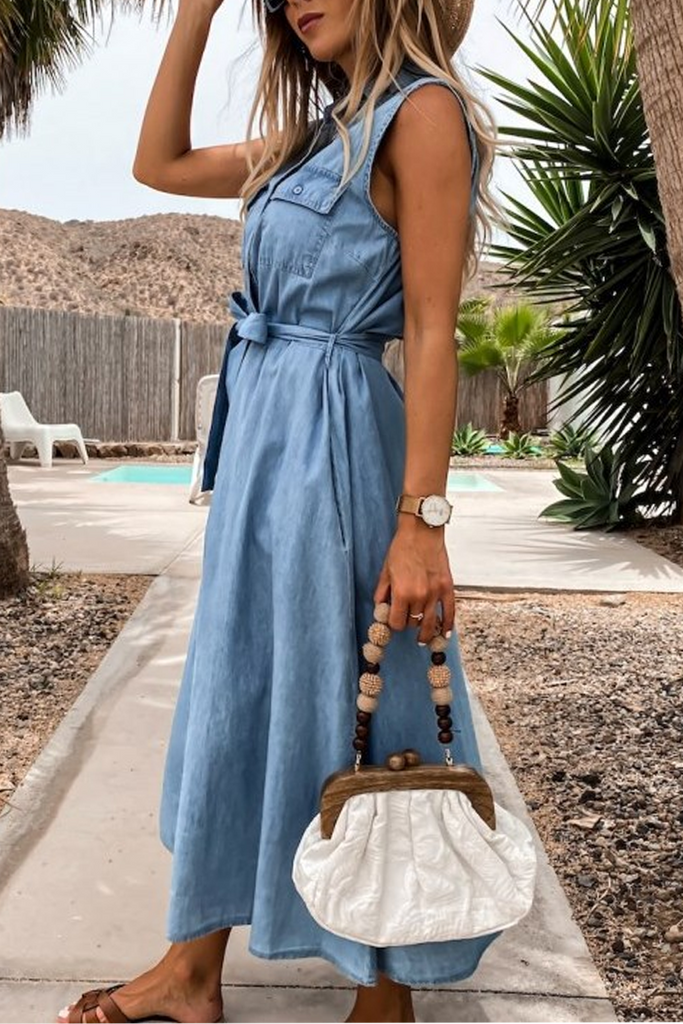 Denim Single-Breasted Belt Sleeveless Dress